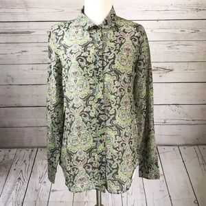 J. Crew Paisley Floral Button Down Blouse